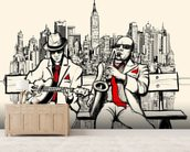 New York Jazz mural wallpaper living room preview