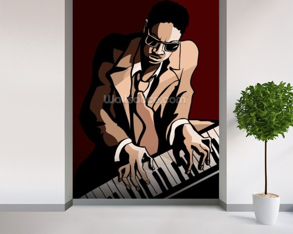 Jazz Pianist wall mural room setting