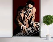 Jazz Pianist wall mural in-room view