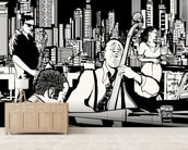 New York Jazz Band wallpaper mural living room preview