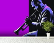 Blues Musician mural wallpaper in-room view