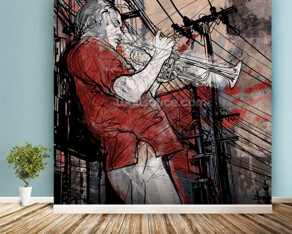 Street Saxophone Player wall mural room setting