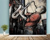 Street Saxophone Player wall mural in-room view