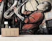 Street Saxophone Player wall mural living room preview