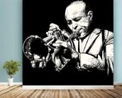 Trumpet Player mural wallpaper in-room view
