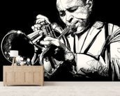 Trumpet Player mural wallpaper living room preview