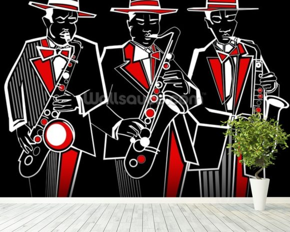 Trio of Saxophonists wall mural room setting