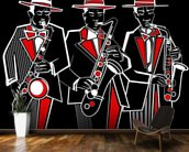 Trio of Saxophonists wall mural kitchen preview