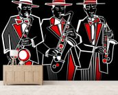 Trio of Saxophonists wall mural living room preview