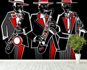 Trio of Saxophonists wall mural in-room view