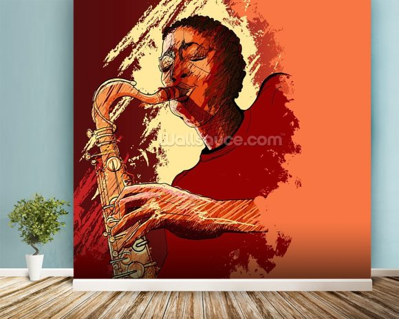 Jazz Saxophonist wall mural room setting