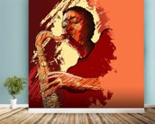 Jazz Saxophonist wall mural in-room view