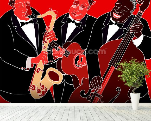 Jazz Band Trio wallpaper mural room setting