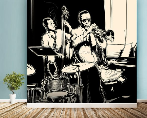 Jazz Black & White mural wallpaper room setting