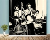 Jazz Black & White mural wallpaper in-room view