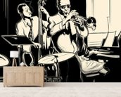 Jazz Black & White mural wallpaper living room preview