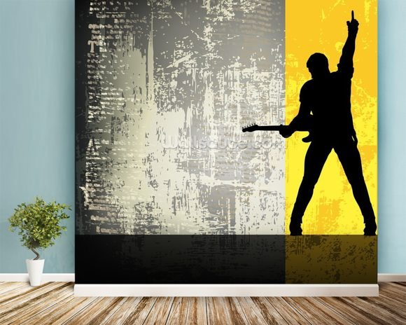 Rock Guitarist wall mural room setting
