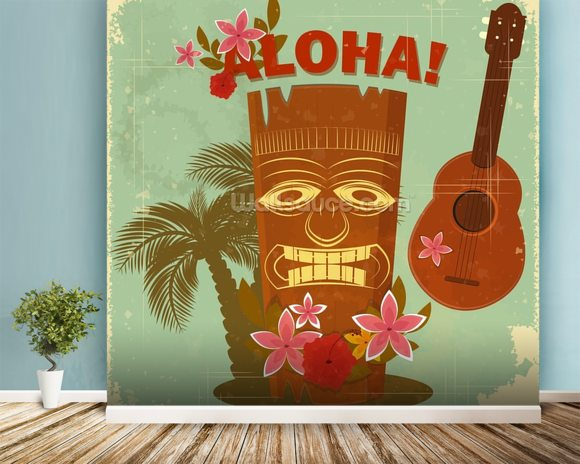 Hawaiian Music mural wallpaper room setting