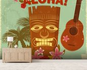 Hawaiian Music mural wallpaper living room preview