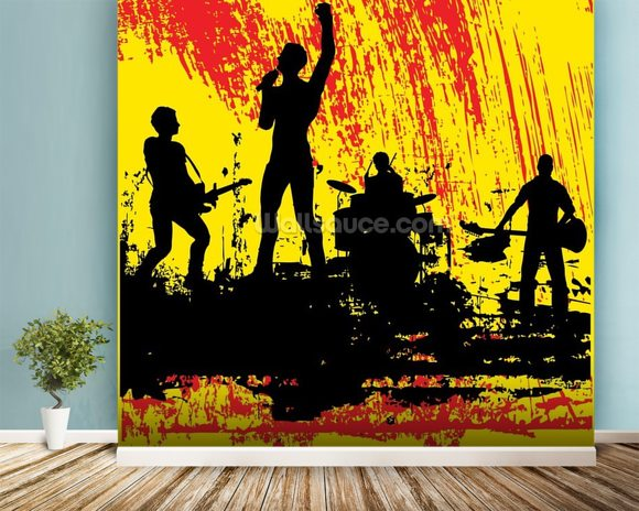 Rock Band wall mural room setting