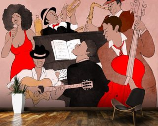 Funky Jazz Band wallpaper mural