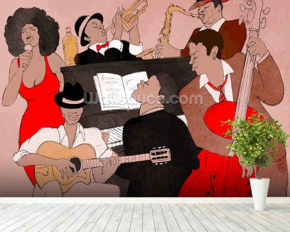 Funky Jazz Band wallpaper mural room setting