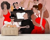 Funky Jazz Band wallpaper mural living room preview