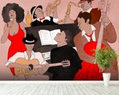 Funky Jazz Band wallpaper mural in-room view