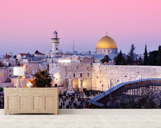 Western Wall and Dome of the Rock in Jerusalem, Israel mural wallpaper
