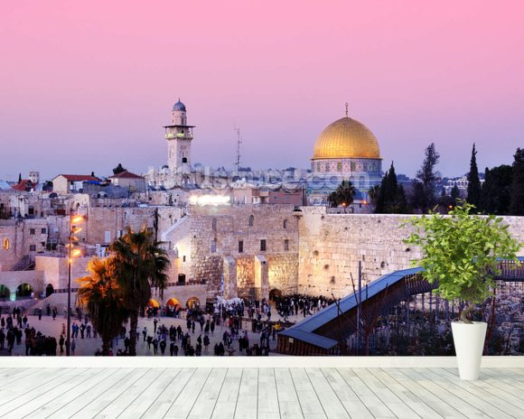 Western Wall and Dome of the Rock in Jerusalem, Israel mural wallpaper room setting