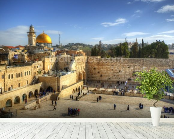 The Wailing Wall And Dome Of Rock Jerusalem Mural Room Setting