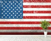 Vintage American Flag mural wallpaper in-room view