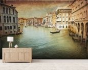 Vintage Venice mural wallpaper living room preview