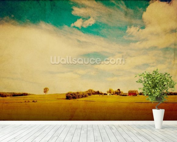 American Country wall mural room setting