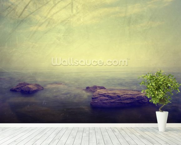 Grunge Seascape wallpaper mural room setting