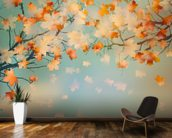 Autumn Leaves mural wallpaper kitchen preview
