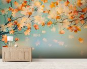 Autumn Leaves mural wallpaper living room preview