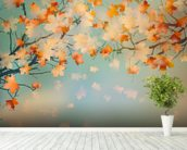 Autumn Leaves mural wallpaper in-room view