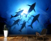 Humpback Whales and Diver mural wallpaper kitchen preview