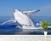Humpback Whale wall mural in-room view