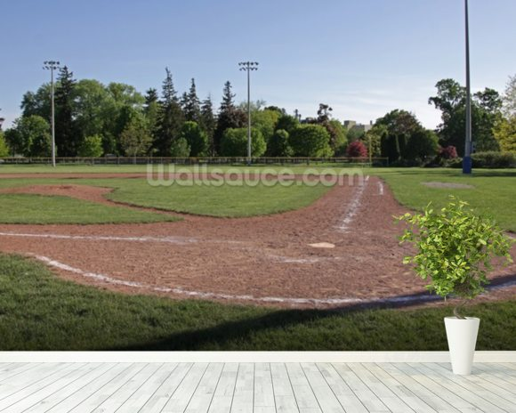 Baseball field at dusk wallsauce usa for Baseball field wall mural