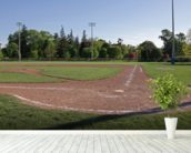 Baseball Field at Dusk wallpaper mural in-room view