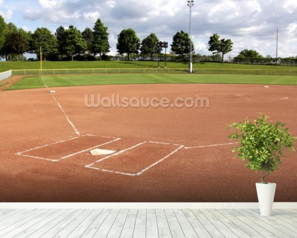 Softball Diamond wallpaper mural room setting
