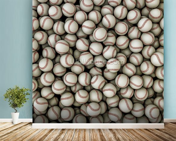 Baseballs background mural wallpaper room setting