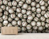 Baseballs background mural wallpaper living room preview