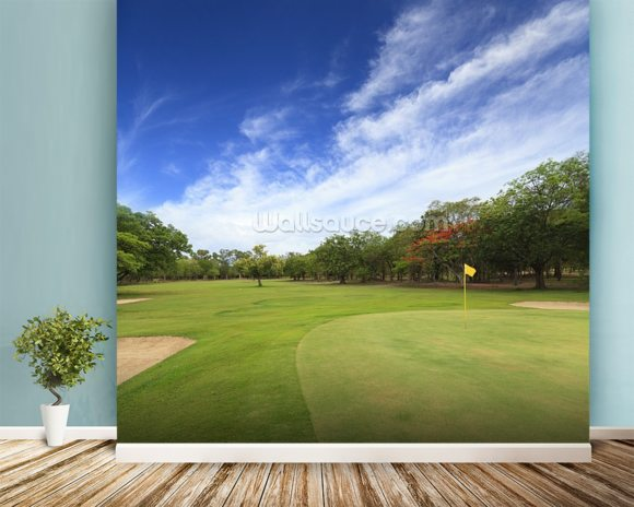 Golf course wallpaper mural room setting