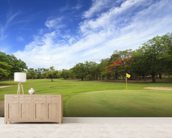 Golf course wallpaper mural living room preview