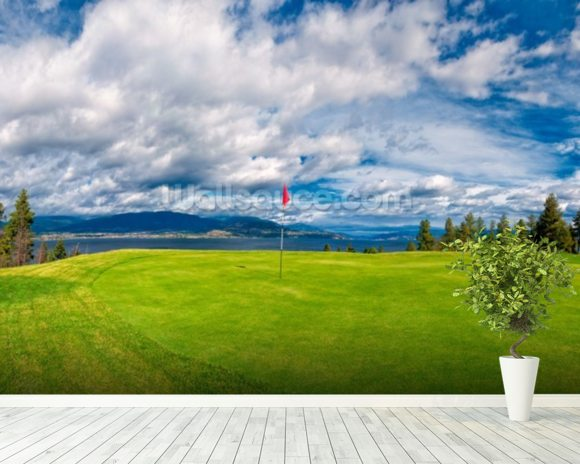 Golf Tee at Kelowna Lakeshore Road Okanagan Valley BC mural wallpaper room setting