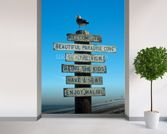 Welcome to Malibu Sign wallpaper mural room setting