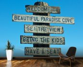 Welcome to Malibu Sign wallpaper mural kitchen preview